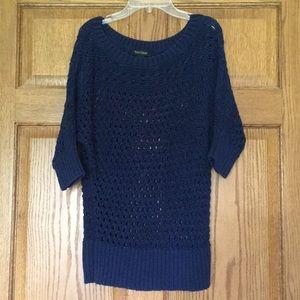 Blue Open Weave Sweater - White House Black Market